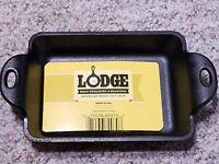LODGE HEAT ENHANCED & SEASONED 10 oz. CAST IRON RECTANGULAR MINI SERVER NWT