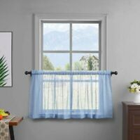 Jola's House Kitchen Tier Curtains for Cafe Bathroom Window Curtain Panels, Blue