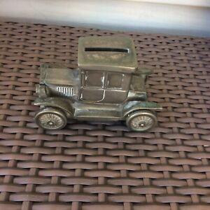 Vintage Money Box Old Fashioned Car Pewter 11cm Wide