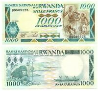 RWANDA 1000 Francs (1988) P-21 UNC Banknote Paper Money