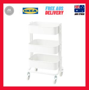 IKEA RÅSHULT 3 Tiers Steel Kitchen Bathroom Trolley Castors 65x38x28cm White
