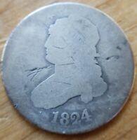 1824/2 Capped Bust Quarter 25 Cent Piece - 4 over 2 Overdate AG Details Damaged