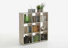 Raumteiler Mega 5, Sandeiche NB, Regalwürfel, Standregal, Bücherregal, 9 Fächer