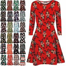 Womens Christmas Santa Gift Ladies Candy Stick Gingerbread Reindeer Swing Dress