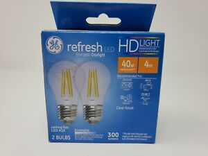 GE Refresh Energetic Daylight A15 Ceiling Fan Bulbs (2) 2 Packs Clear Dimmable