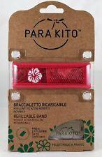 Parakito Bracelet Antimoustiques Rouge Hawaii + 2 Plaquettes Adultes Enfants