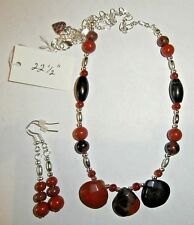 CHALACEDONY  STONES HANDMADE NECKLACE with GEMSTONES and EARRINGS