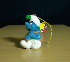 "Smurfs Christmas Gift Sack Smurf Tree Ornament Vintage 2"" Figure Santa Toy 51904"
