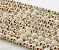 36 PCS 10mm White color Turquoise Howlite Skull Spacer Beads Charms findings