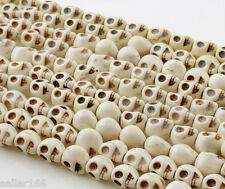 50 PCS White Turquoise Skull Head Howlite Spacer Loose Beads Charms 10mm