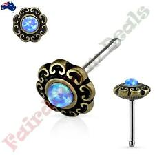 Surgical Steel Antique Gold Nose Stud with Blue Opal Tribal Heart Filigree Top