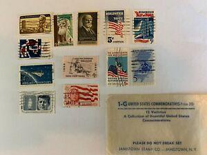 12 varieties of U.S.Commemorative Stamps1960's John Muir, J. F. Kennedy, Mercury