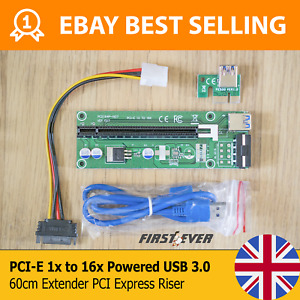 BEST SELLING PCI-E 1x to 16x Powered USB 3.0 60cm Extender PCI Express Riser UK