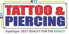 2x4 TATTOO & PIERCING Banner Sign Red White & Blue NEW Discount Size & Price