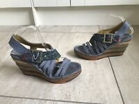 WOMEN'S BLUE ART SANDALS SIZE 41 UK 7 Wedges Summer Holiday Strappy