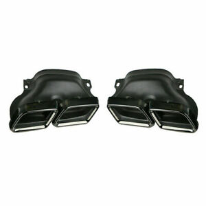 MERCEDES W205 C CLASS GLOSS BLACK FINISH EXHAUST PIPE TRIMS TIPS 2014-18 C63