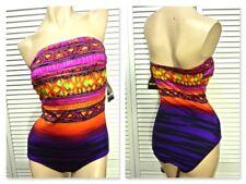 NWT $89 Inches Away Swimwear 10 Purple Multi Geo One-Piece Bandeau