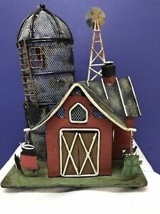 Rustic Metal Barn With Silo And Windmill  Tea Light Candle Holder Decor