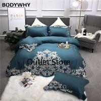 100% Egyptian Cotton Tribute Silk Luxury Bedding Set 4Pcs  Bed Sheet Set Duvet