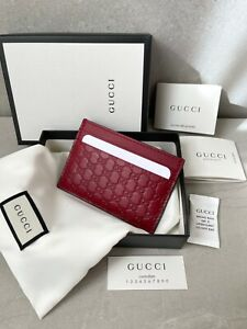 New Gucci Micro Guccissima Monogram GG Logo Leather Red Card Holder Wallet