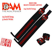 DAM Black Red Stripes Weight Lifting Wrist Wraps Bodybuilding Straps GYM Wraps..