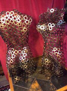 Nude Female Metal Torso Bust Sculpture Figure Statue Mannequin Hand Crafted 74cm