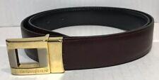 Yves Saint Laurent YSL Women Belt 34/85 Black Wine Leather Reversible Made Italy