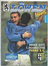 ORIG. PRG UEFA CUP 2000/01 TSV 1860 Monaco-AC PARMA!!! RARO