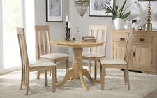 Kingston Round Oak Dining Room Table and 4 Chester Chairs Set - Ivory Seat Pad