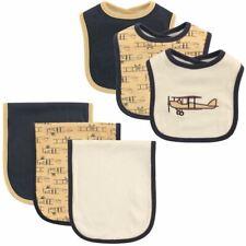 Hudson Baby Boy Bib and Burp Cloth, 6-Piece Set, Airplane