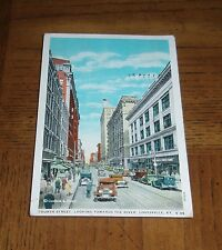 RARE ANTIQUE 1936 USED POSTCARD - 4TH STREET - LOUISVILLE, KY - LOTS OF OLD CARS
