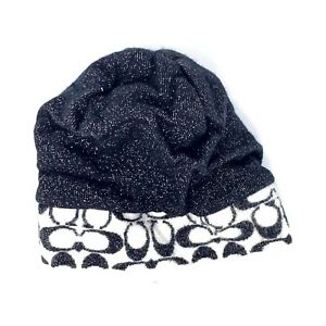 Coach Wool Knit Infant Baby Hat Cap Black White Silver One Size EUC