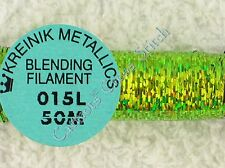 Kreinik Blending Filament 015L Laser Lime Holographic Metallic Thread 50M