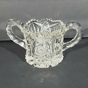 Vintage Crystal Sugar Bowl With Double Handles Collectible decorative  HG4