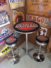 HARLEY DAVIDSON MOTORCYCLES PREMIUM BAR STOOLS X 2 AND TABLE ADJUSTABLE HEIGHT