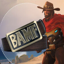 Game OW Overwatch Jesse·Mccree Belt BAMF Cosplay Strap Buckle Brown Waistband