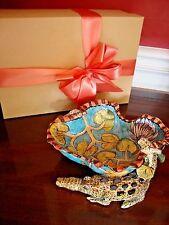 ARDMORE CERAMIC BOWL 2 Crocodiles Turquoise Plate +Book Repaired $1.6k Original