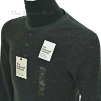 SONOMA Men's SMALL The Supersoft Thermal GRAY Space-Dye HENLEY SHIRT Long Sleeve