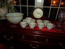 Anchor Hocking Milk Glass Ivory 22 kt Gold Trim Sandwich Punch Bowl & cups~~~~