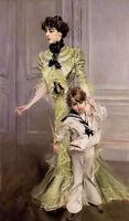 Oil giovanni boldini - portrait of madame georges hugo and her son jean canvas