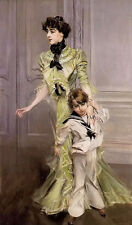 Oil giovanni boldini - portrait of madame georges hugo and her son jean canvas