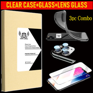 3pc Combo Pack- iPhone 11, Pro/Pro Max TPU Case + Temp Glass + Camera Lens Glass