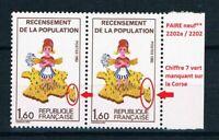 FRANCE paire Timbre 2202a/2202 Neuf** TB avec gomme d'origine (cote 20,00 euros)