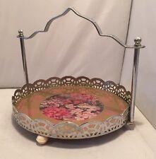 Vintage 1950's Chrome & Glass Floral Chintz Cake Stand Shabby Chic Tea Wedding