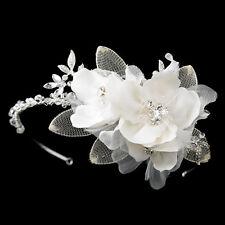 Silver Swaarovski w/ Matte Stain Flowers Bridal Wedding Headpiece for Brides
