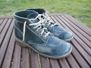 Bottines KICKERS vintage cuir bleu années 80 pointure 39