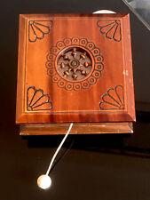 More details for vintage carved wood pull string music box plays wonderful wonderful copenhagen