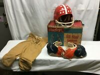 VINTAGE 60s/70s RAWLINGS CHILDREN'S FOOTBALL KIT UNIFORM HELMET  IN BOX
