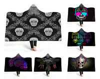 Gift Gothic Cool Punk Sugar Skull Dream Catcher Fleece Hooded Blanket Sofa Throw