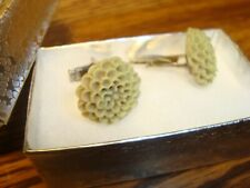 1 Pair #2 Olive BROWN Flower Blossom Design Hamilton Silver Plated Cuff links.